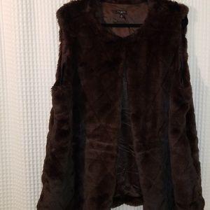 Talbots faux mink vest